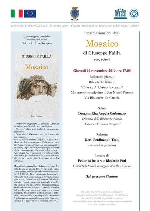 """Presentazione del libro """"MOSAICO"""", catania nov 2019"""